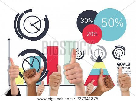 Digital composite of Thumbs up color graphics
