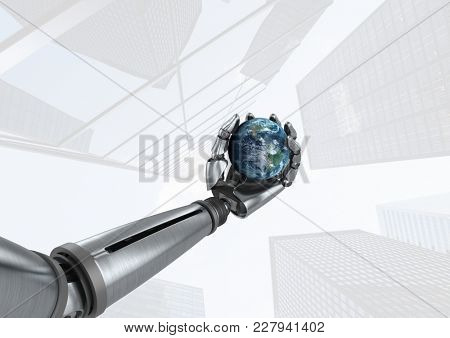 Digital composite of Android Robot hand holding planet earth with skyscraper bright background
