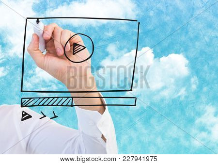 Digital composite of Arm with marker against website mock up and sky