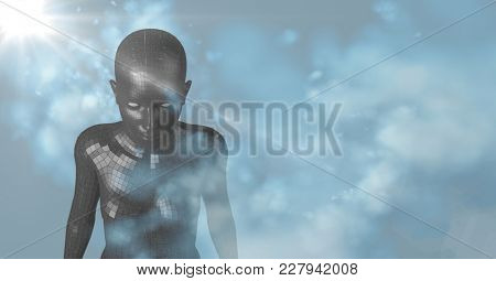 Digital composite of 3D black female AI with clouds and blue background with flare