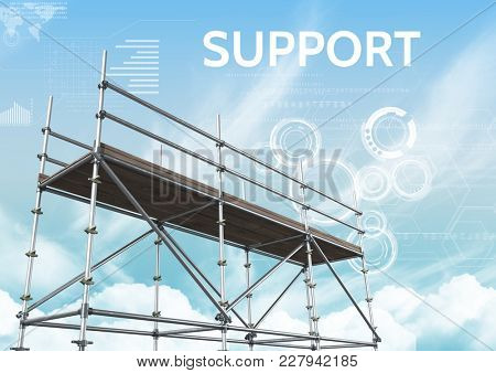 Digital composite of Support Text with 3D Scaffolding and technology interface sky