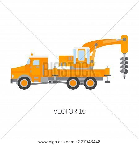 Color Plain Vector Icon Construction Machinery Truck Boer, Well. Industrial Retro Style. Corporate C