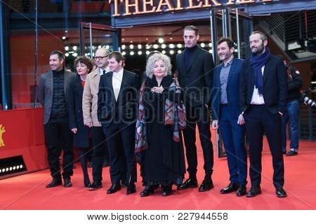 Hanna Schygulla, Cedric Kahn arrive for the 'The Prayer' (La priere) premiere during the 68th  Film Festival Berlin at Berlinale Palast on February 18, 2018 in Berlin, Germany.
