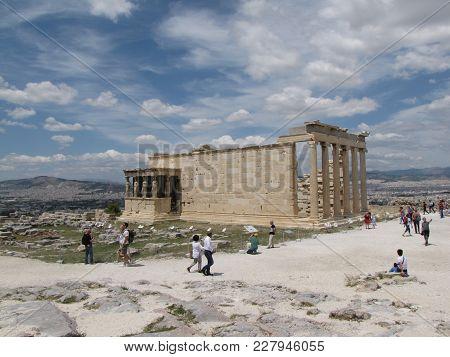 Acropolis In Athens. Temple Of The Erechtheum. Ancient Greek Civilization. Mediterranean Area. The C