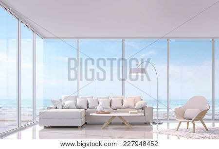 Modern White Living Room With Sea View 3d Rendering Image.there Are White Tile Floor And White Gloss