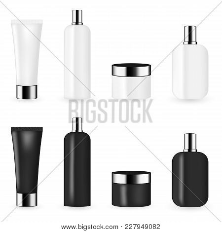 Black And White Color Cosmetic Package Template Collection For Cream, Foams, Gel, Lotion, Pomade And