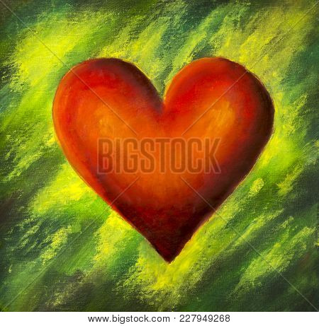 Oil Painting Red Heart On Green Unfocus Nature Background For Valentines Day, Wedding Or Postcard, I
