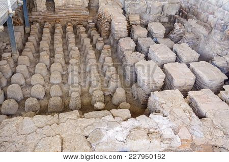 View Of The Heating System Of A Roman Bath House In The Ancient City Of Bet Shean, Now A National Pa