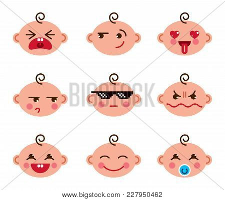 Cute Baby Cartoon Vector Flat Icons Set Of Emoji Smiley Collection, Adorable, Happy, Smiling, Laughi