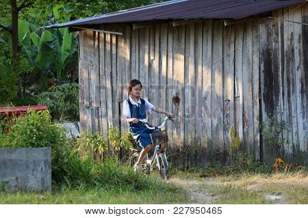 Asian Students Girl Wearing School Uniform, Enjoy A Bicycle In Local Village In The Evening In Thail