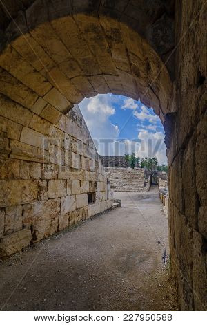 View Of An Entrance To The Roman Theater In The Ancient City Of Bet Shean, Now A National Park. Nort