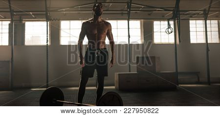 Weight Lifter Standing In Gym