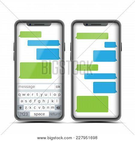 Messenger Vector. Speech Bubbles. Phone Chat Interface. Realistic Smartphone. Communication Concept.