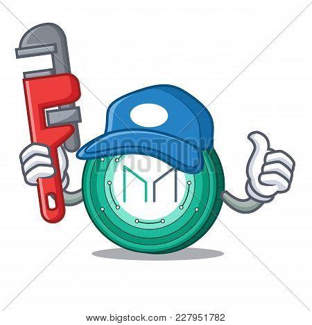 Plumber Maker Coin Mascot Cartoon Vector Illustration