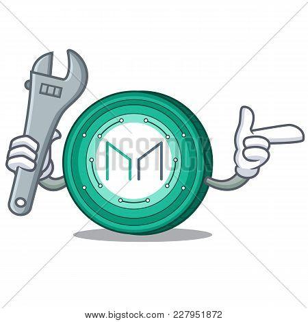 Mechanic Maker Coin Mascot Cartoon Vector Illustration