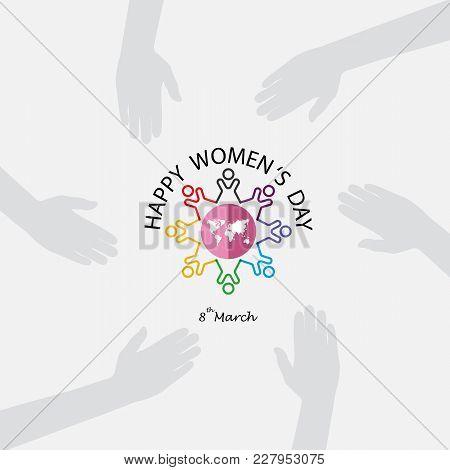 Creative 8 March Logo Vector Design With International Women's Day Icon.women's Day Symbol. Minimali