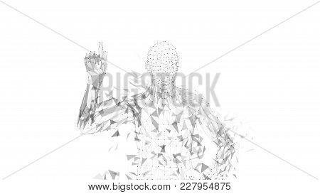 Conceptual Abstract Man Pointing Finger Up. Connected Lines, Dots, Triangles, Particles On White Bac