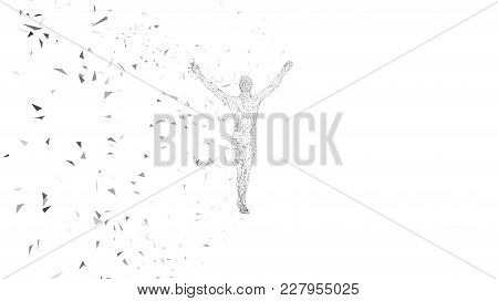 Conceptual Abstract Man With Hands Pointing Up. Connected Lines, Dots, Triangles, Particles On White