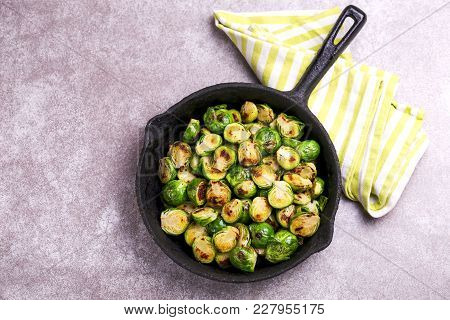 Vegetarian Cuisine. Brussels Sprouts Roasted With Olive Oil. Copyspace