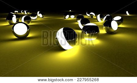 Neon Balls On A Dark Background. Abstract Chaotic Glowing Spheres. Futuristic Background. Hi-res Ill