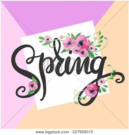 Spring Purple Flower Purple Background Vector Image