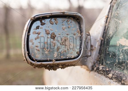 Dirt On The Mirror Of Car . Photo Of An Abstract Texture