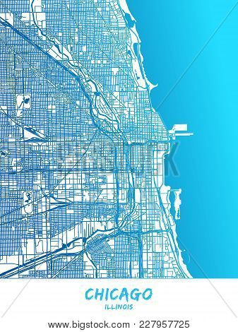 Chicago Downtown And Surroundings Map In Blue Shaded Version With Many Details. This Map Of Chicago