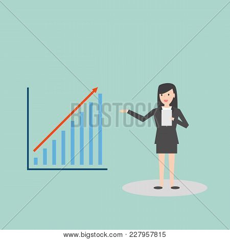 Business Woman Presenting Bar Chart Report In Flat Style Cartoon Character Vector Illustration
