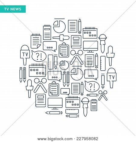 Reporter Lined Icons Collection With Journalistic Tools And Correspondent Equipment In Round Shape I