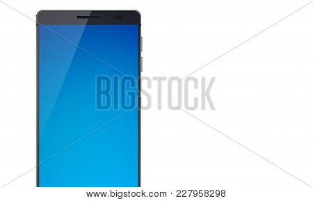 Modern Touch Screen Smartphone Concept With Shadow On The Beautiful Blue Touchscreen Display On The