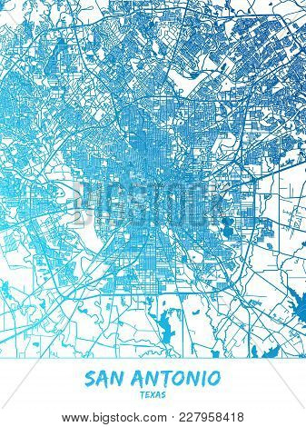 San Antonio Downtown And Surroundings Map In Blue Shaded Version With Many Details. This Map Of San