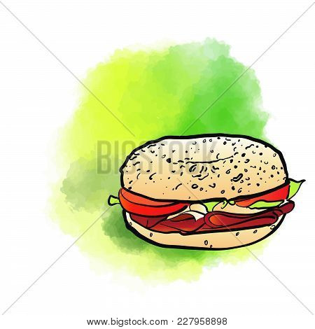 Bagel Poster Design Background. Concept Vector Artwork With Copy Space. Ideal For Food Price Labelin