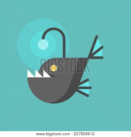 Angler Fish Icon, Flat Design, Trap Concept