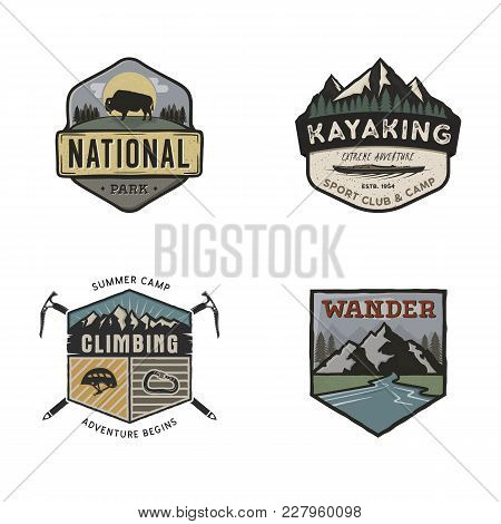 Set Of Vintage Hand Drawn Travel Logos. Camping Labels Concepts. Mountain Expedition Badge Designs.