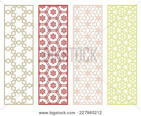 Decorative Geometric Line Borders With Repeating Texture. Tribal Ethnic Arabic, Indian, Turkish Orna