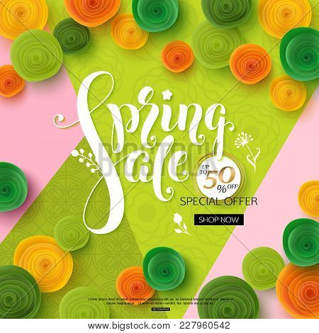 Spring Sale Background With Green Paper Flowers For Banner, Poster, Online Shop