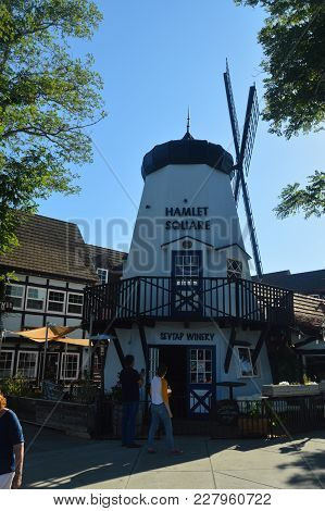 Typical Danish Mill In Solvang: A Picturesque Village Founded By Danes With Their Typical Contructio