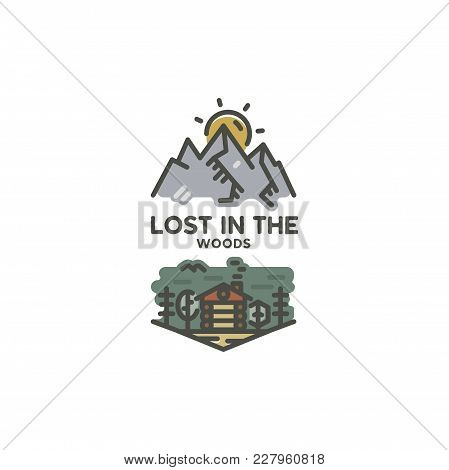 Vintage Hand Drawn Travel Badge. Camping Label Concept. Mountain Expedition Logo Design. Travel Badg