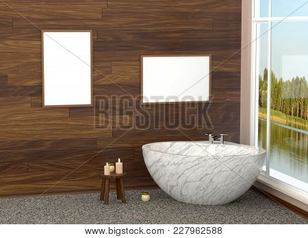Luxurious White Modern Bathroom In The Bathroom With Tiles, Marble, Large Window. Bathroom With A La