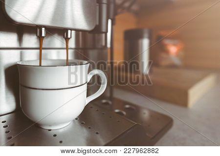 Automatic Espresso Machine Making Coffee, Copy Space