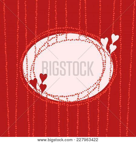 Stylish Oval Frame With Hearts, Fancy Banner