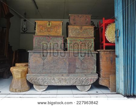 Old Chest Coffer Made Of Wood Carved Of Wood In Bali Indonesia