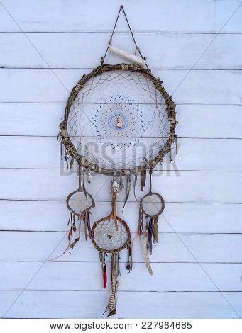 Dreamcatcher On A Shabby Wooden Background. Ethnic Design, Boho Style, Tribal Symbol