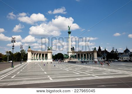The Heroes Square Panoramic View, Budapest, Hungary
