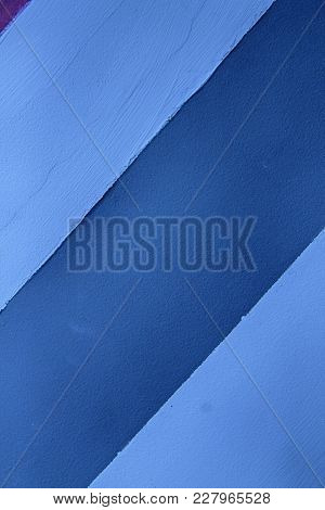 Wall With Blue Lines, Detail Of Decoration In The City, Textured Background.