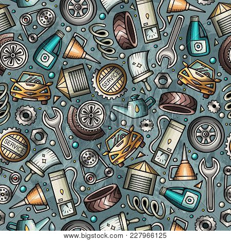 Cartoon Cute Hand Drawn Automotive Seamless Pattern. Illustration With Lots Of Elements. Endless Fun