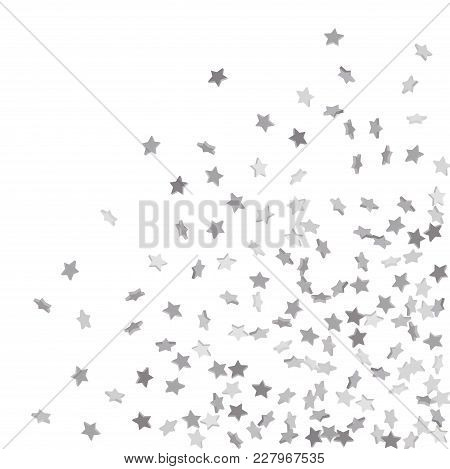 Star Confetti. Silver Casual Confetti Background.  Illustration Of Flying Shiny Stars. Decorative El