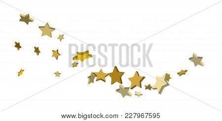 Star Confetti. Golden Casual Confetti Background. Bright Design Pattern. Vector White Template With
