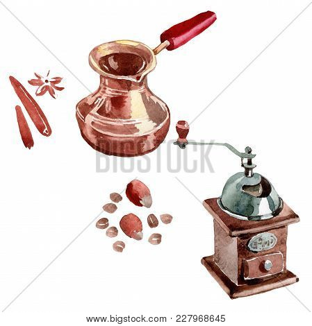 Coffee House Aromatic Food In A Watercolor Style Isolated. Full Name Of The Food: Coffee Grinder, Co