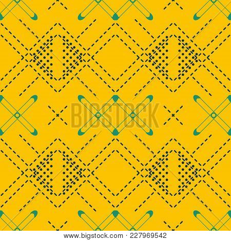 Seamless Abstract Geometric Pattern With Dashed Lines In Mustard And Blue Colors